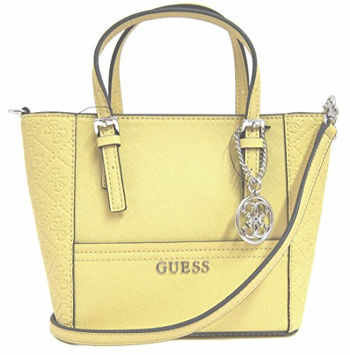 GUESS Women's Delaney Logo-Embossed Mini Tote Bag, Sun