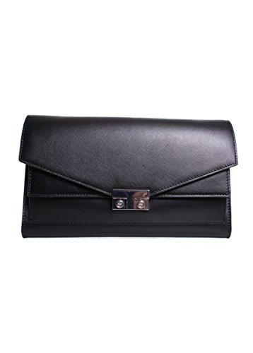 Tory Burch T-Lock Clutch in Black