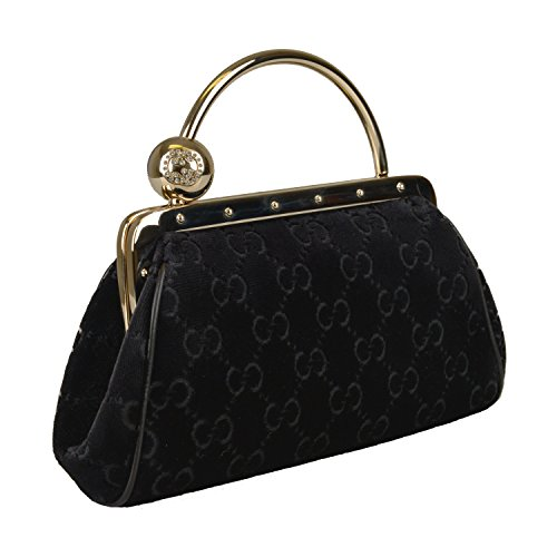 Gucci Guccissima Black Velvet Evening Clutch W/ Swarovski GG Lock