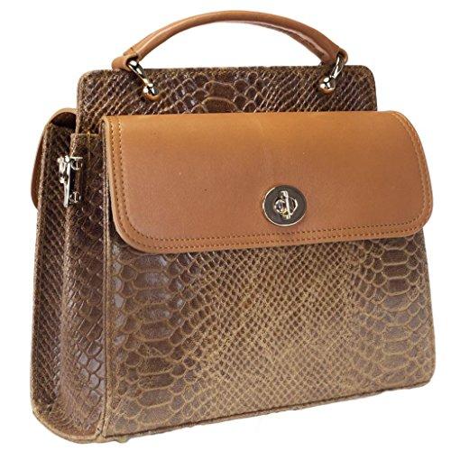 HS 5260 CU CELIA Made in Italy Tan Snake Embossed Mini Satchel/Shoulder Bag