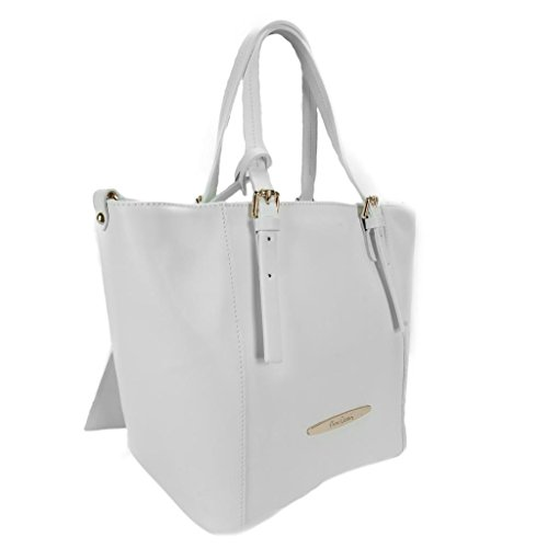 Pierre Cardin 1335 BIANCA Made in Italy White Leather Structured Tote/Shoulder Bag