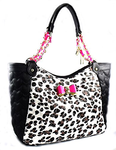 Betsey Johnson Handbag BE MY BOW SATCHEL Leopard