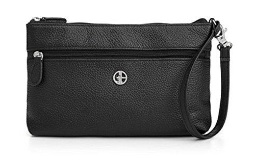 Giani Bernini Leather Softy Wristlet Clutch Purse Handbag (Black)