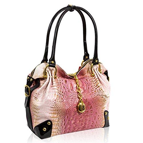 Marino Orlandi Italian Designer Pink Alligator Leather Large Slouchy Purse Bag