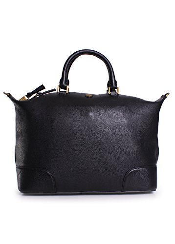 Tory Burch Frances Slouchy Leather Satchel in Black