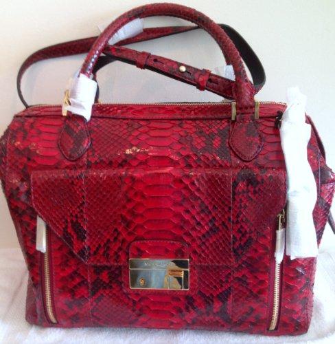 Michael Kors Gia Crimson Large Zip Satchel Genuine Python Bag NEW