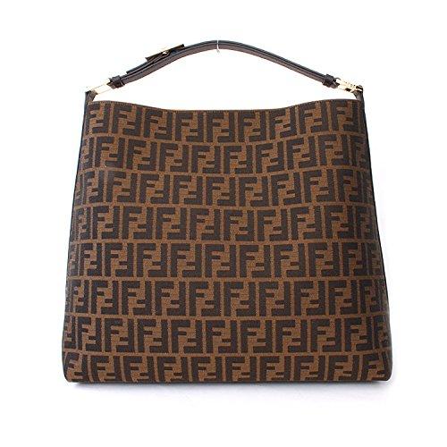 Fendi Zucca Brown Leather Borsa Hobo Bag Handbag