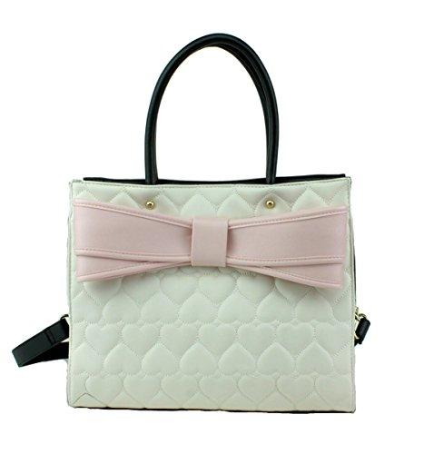 Betsey Johnson Bow Wow Tote Shoulder Bag, Bone