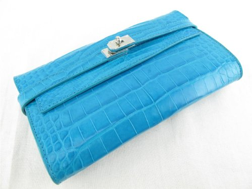 Pelgio Women's Genuine Crocodile Belly Skin Clutch Wallet Purse Blue