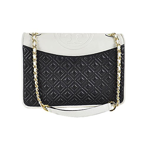 Tory Burch Quilted Fleming Double Pocket E/W Chain Bag Black New Ivory