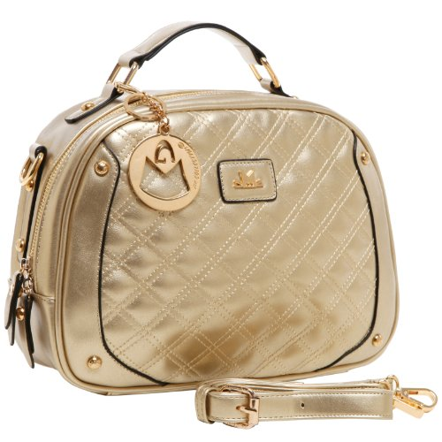 MG Collection BELLE Metallic Gold Quilted Bowling Style Satchel Shoulder Bag