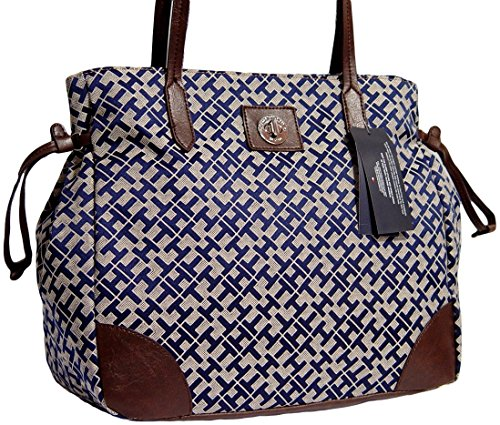 Women's Tommy Hilfiger Large Tote Handbag (Navy Alpaca Trimmed With Brown)