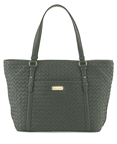 Cole Haan Junia Woven Leather Tote Bag, Storm Cloud Grey, One Size