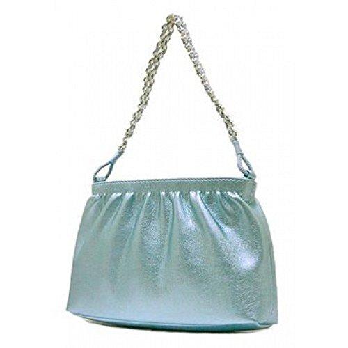 Evening Bag – Metallic w/ Faux Pearl Strap – Blue- BG-MP934BL
