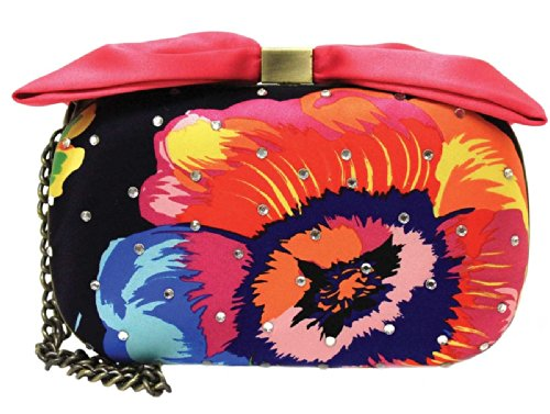 Mary Frances Aria New Tropical Multi Bright Crystal Bow Closure Clutch Wristlet