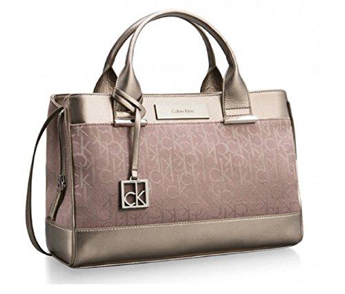Calvin Klein Logo Jacquard City Center Zip Carryall Satchel Bag Handbag (Pink)