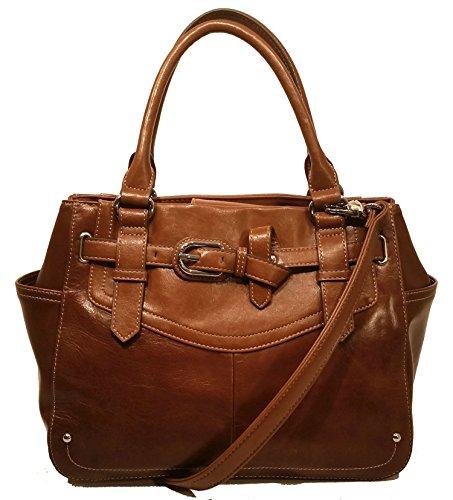 Tignanello The Statement Leather Satchel Chestnut Handbag