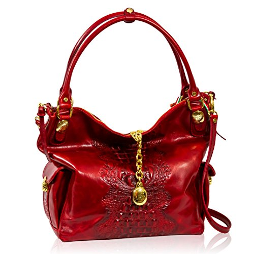 Marino Orlandi Italian Designer Red Alligator Leather Oversized Purse Bag
