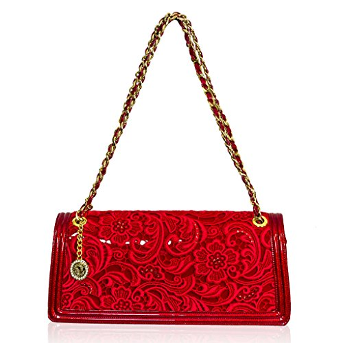 Valentino Orlandi Italian Designer Red Embroidered Leather Clutch Bag w/Chain