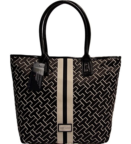 Tommy Hilfiger Logo NS Large Tote Bag Handbag Purse, Black