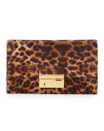 Michael Kors Gia Cheetah Calfskin Genuine Hair Calf Clutch Leopard Print Fur Gold