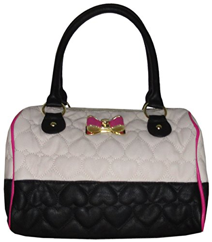 Betsey Johnson Speedy Be Mine Satchel Handbag, Bone / Black