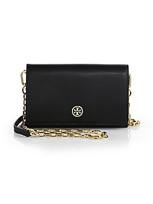 Tory Burch Robinson Chain Wallet in Black