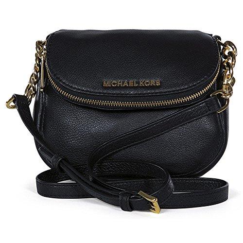 Michael Kors Beford Leather Flap Crossbody Bag Purse Black