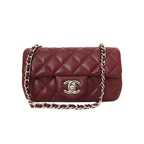 CHANEL Women's Quilted Mini Classic Flap Chain Shoulder Bag Caviar Skin Red