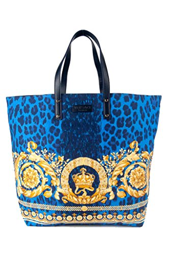 Versace Large Blue Leopard Leather Trim Icon Bag