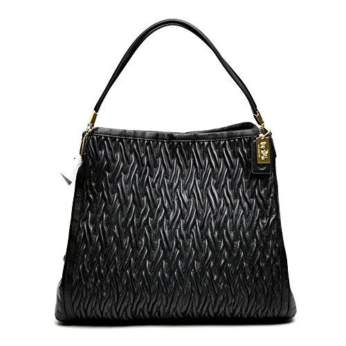 Coach Madison Gathered Twist Leather Phoebe Shoulder Bag 25260 Black