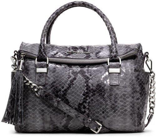 Michael Kors New Handbag Weston Snake Print Bag Satchel Gray Grey Leather Slate