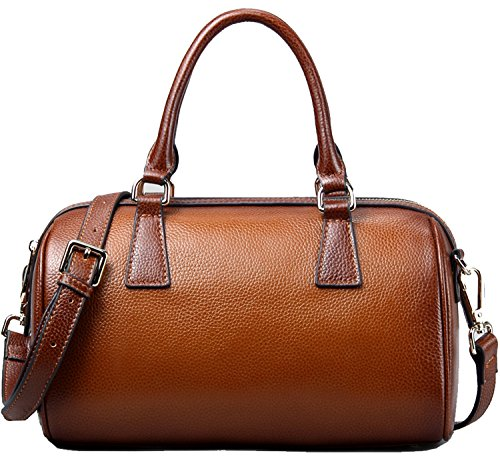 Heshe 100% Soft Genuine Leather Casual Vintage Top-handle Shoulder Cross Body Bag Satchel Purse Handbag for Women