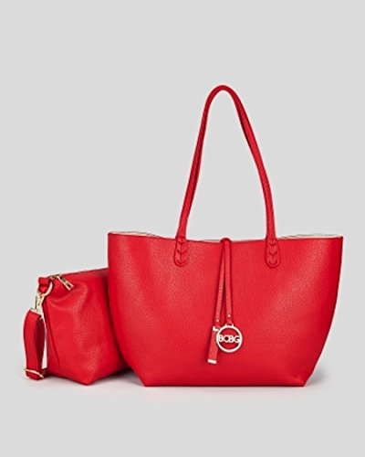 Bcbg Reversible Tote with Matching Convertible Bag Red/off White