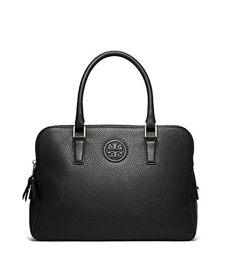 Tory Burch Marion Tripel Zip Black Leather Satchel Bag Black New