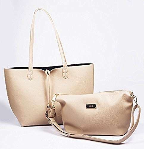 Bcbg Reversible Tote with Matching Convertible Bag Beige/black