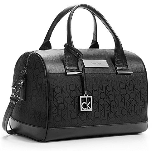 Calvin Klein Logo Jacquard Sleek Barrel Satchel Bag Handbag (Black)