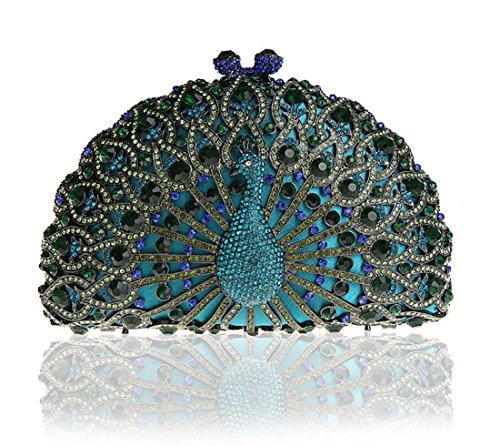 Whoinshop Women's Luxury Peacock Crystals Half Moon Hard Case Evening Clutch Bag