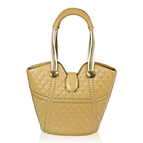 Valentino Orlandi Italian Designer Honey Quilted Leather Purse Bucket Bag