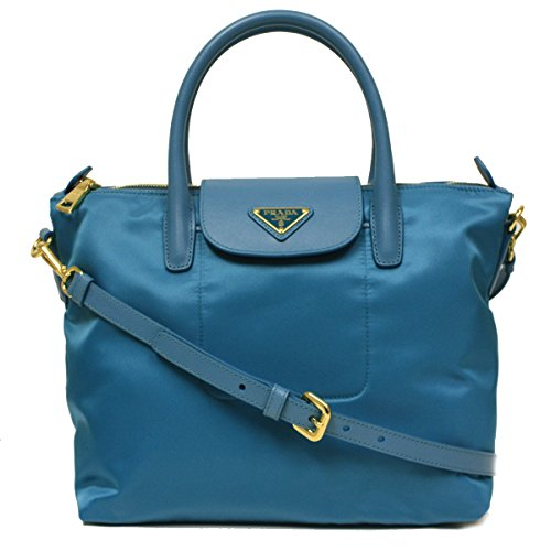 Prada BN2106 Turquoise Blue Tessuto Saffian Nylon and Leather Shopping Tote Bag