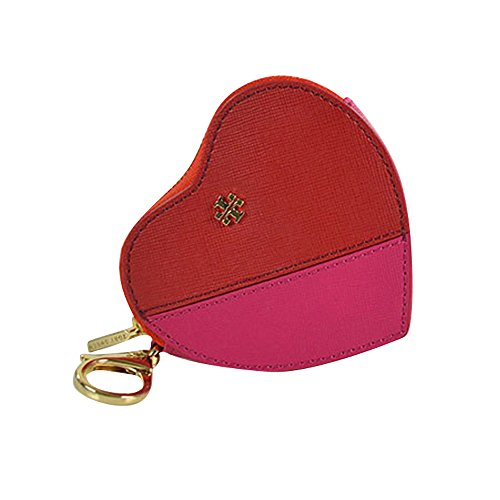 Tory Burch Kerrington Applique Heart Zip Coin Case Key Fob Kir Royal Carnation Red