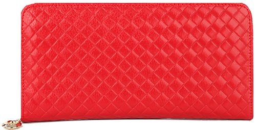 Heshe Genuine Leather Women Purse Woven Pattern Long Wallet Zippered Around Clutch