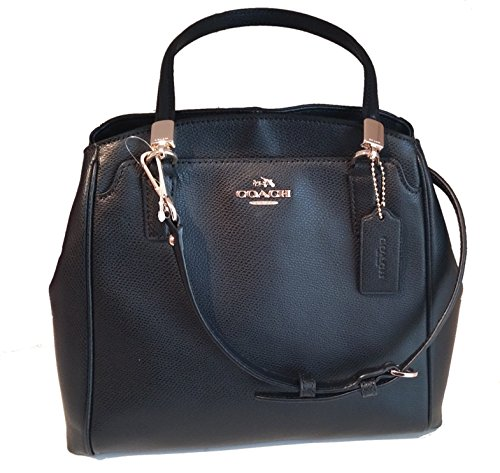 Coach Crossgrain Leather Minetta Black Color Purse with Horse Carriage Logo
