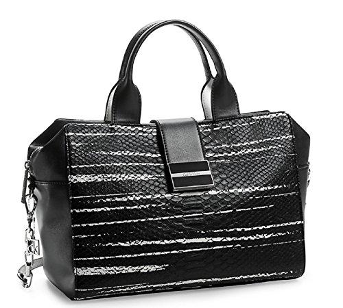 Calvin Klein Madeline Snake Metro Satchel Bag Handbag (Black Burshstroke)