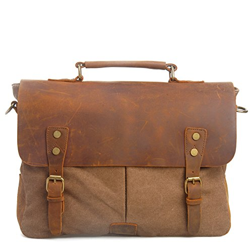 Handmade Unisex 100% Genuine Auth Real Leather with Canvas Messenger Bag for Laptop Briefcase Satchel