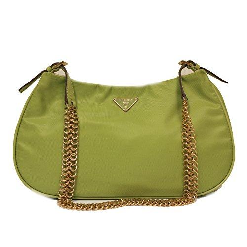 Prada BR0105 Green Tessuto Light Gold Chain Evening Bag