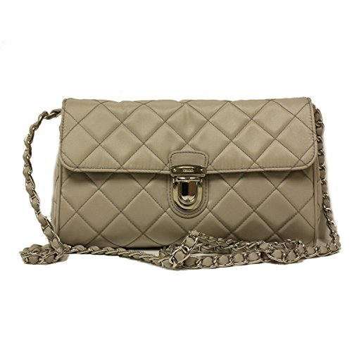 Prada BP0584 Pomice Tessuto Impuntu Pattina Nylon and Leather Chain Evening Bag