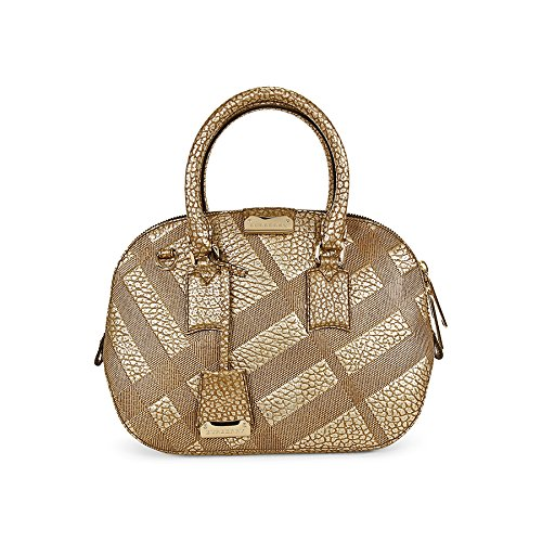 Burberry Small Orchad Check-Embossed Beige Pebbled Leather Satchel 3958877