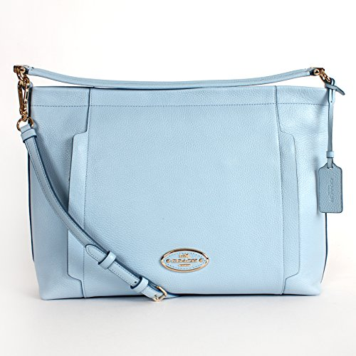 Coach 34312 Pebble Leather Scout Hobo Pale Blue