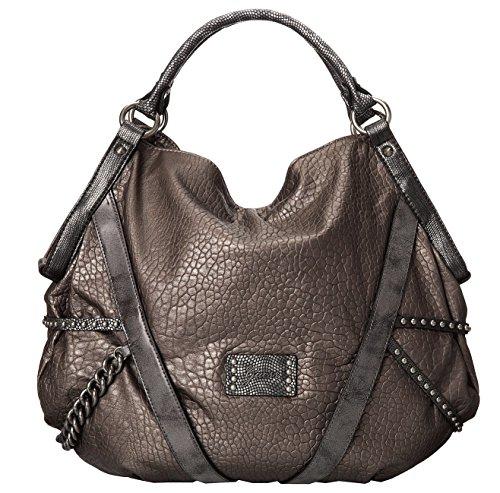 GUESS Bandit Blues Large Tote Hobo Bag Purse Handbag, Pewter / Grey